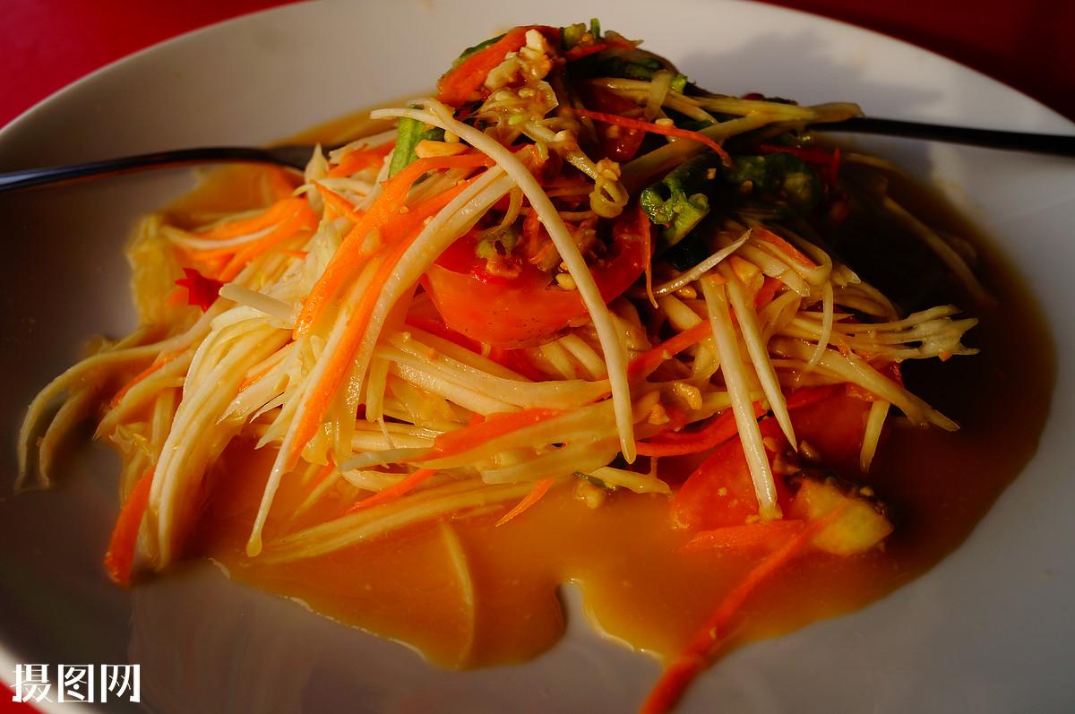 食物,青木瓜沙拉,碟子,唯美,小清新,西式快餐图片
