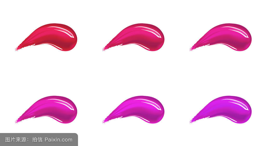 粉底,膏状或液体口红涂抹涂抹不同颜色的笔画.图片