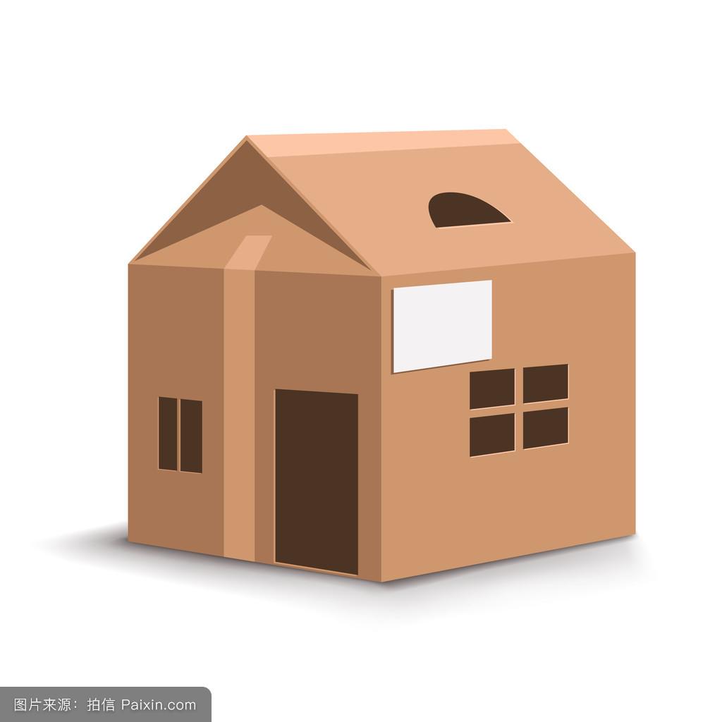 纸箱房子模型-儿童制作手工房子-硬纸板手工制作房子图片图片