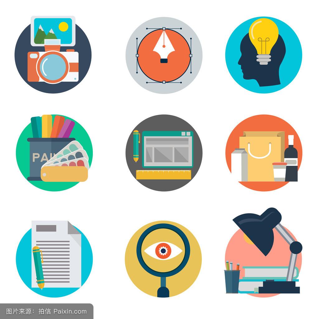 一套平面设计风格的图形和网页设计概念图标.图片