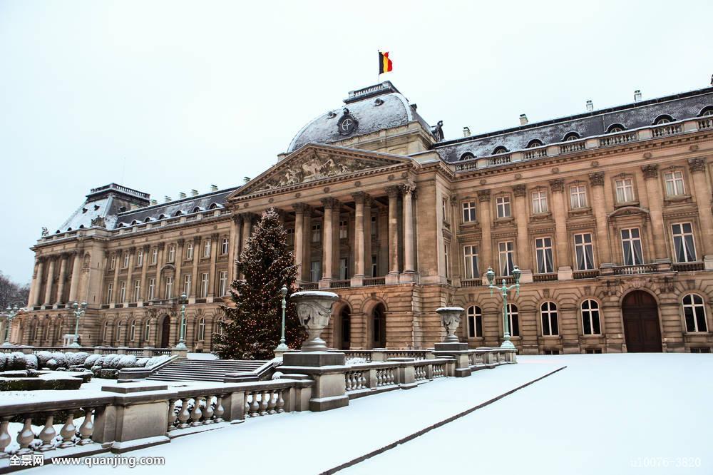 布鲁塞尔,地标,建筑,比利时,欧洲,横图,皇宫,宫殿,旗帜,皇家,冬天,雪图片