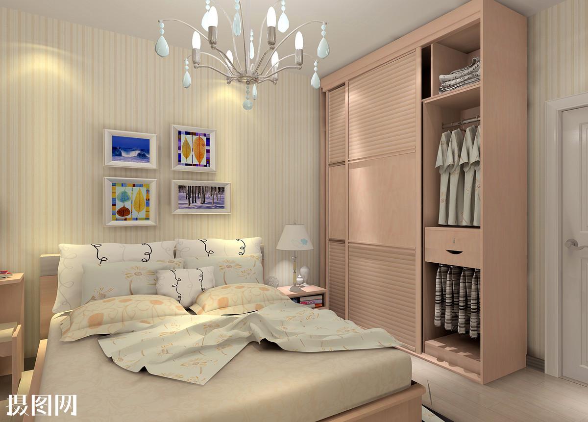 主卧室效果图,新中式,家装,效