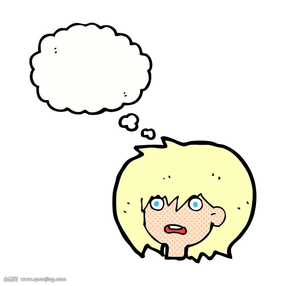 卡通,惊奇,表情,思考,泡泡图片图片
