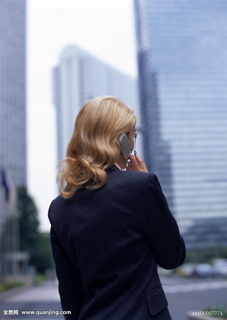 商务人士,职业女性,职员,外国人,中长发,卷发,金发,上身,躯干,背影,建图片