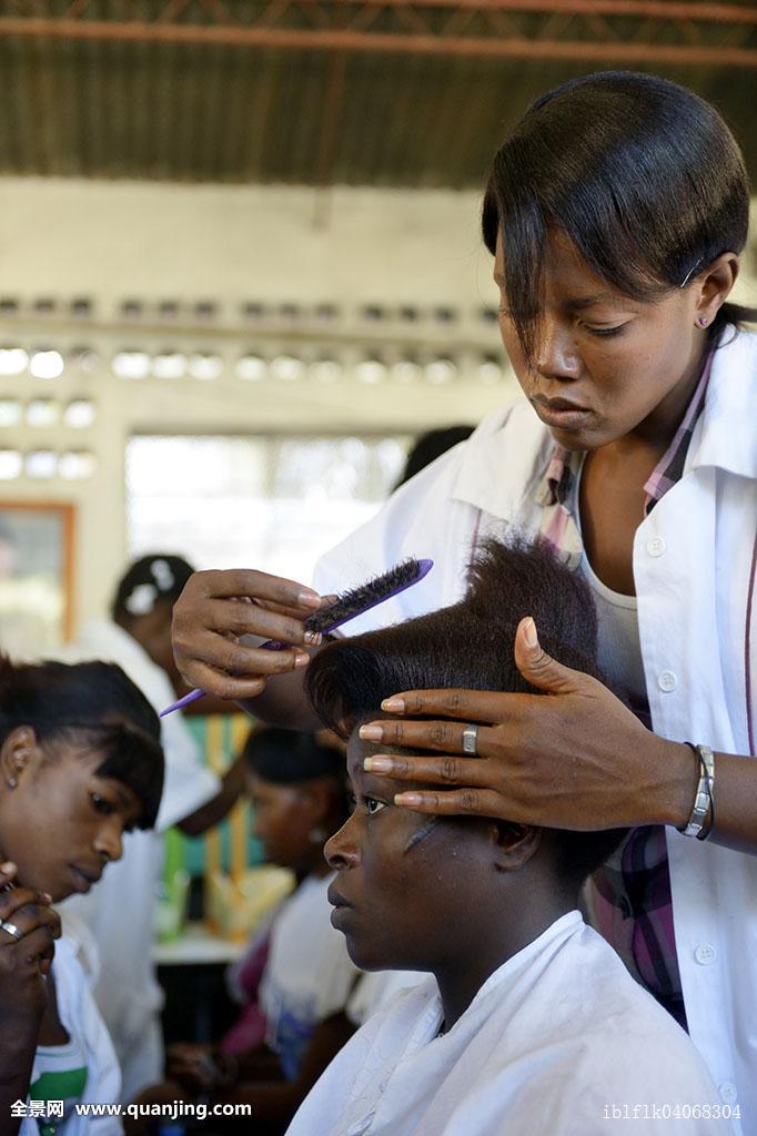 美发,学校,美女,接受,训练,工作,美发师,盐,区域,太子港,海地,北美图片