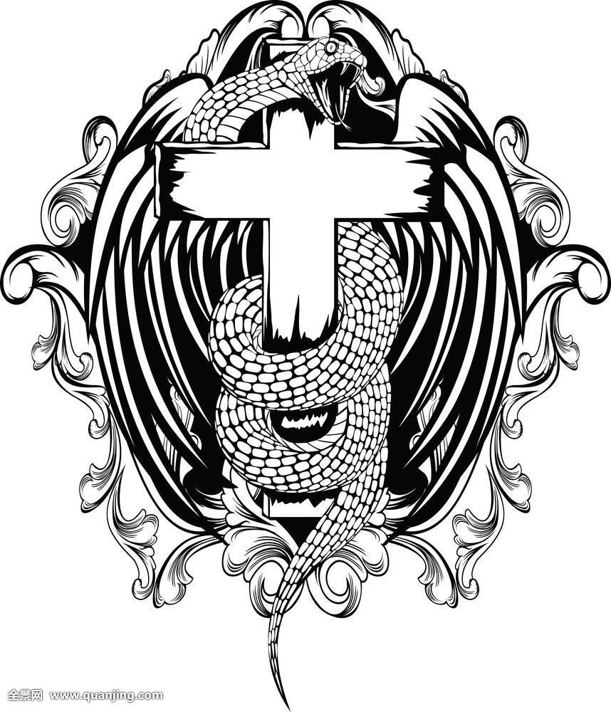纹身,动物,攻击,十字架,蛇,天使,鸟,魔鬼,飞,翼,纹章,强势,背景,眼镜图片