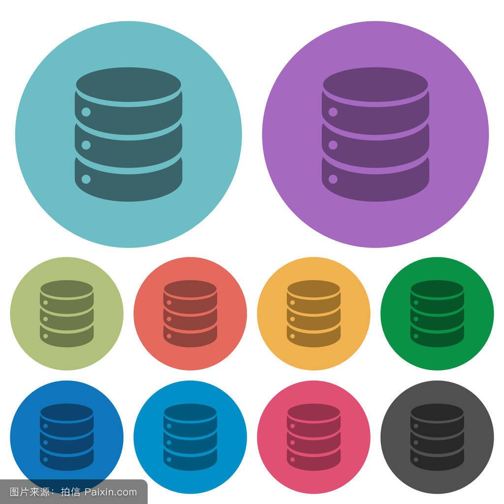 数据库颜色暗平图标图片