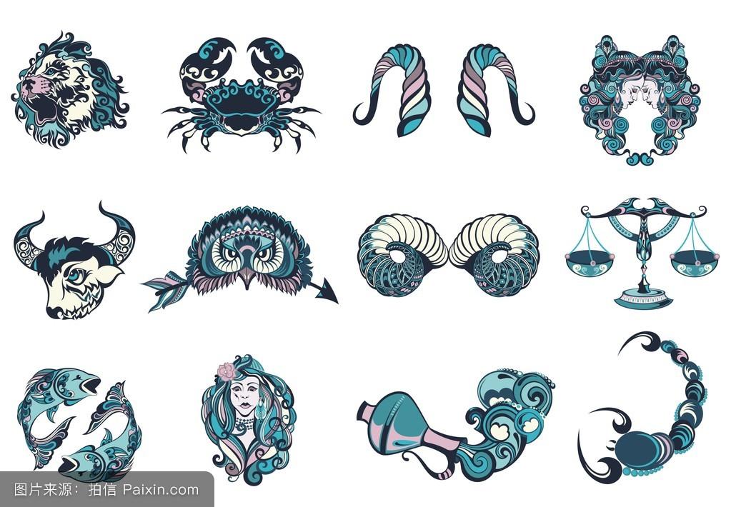 天蝎座,设置,双鱼座,符号,癌症,签名,设计,最小,插图,未来,十二,纹身图片