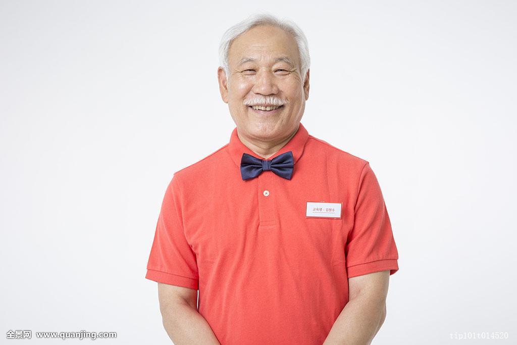 70多岁,领结,男性,只有一个男人,领带,老人,白色背景,亚洲人,头发图片