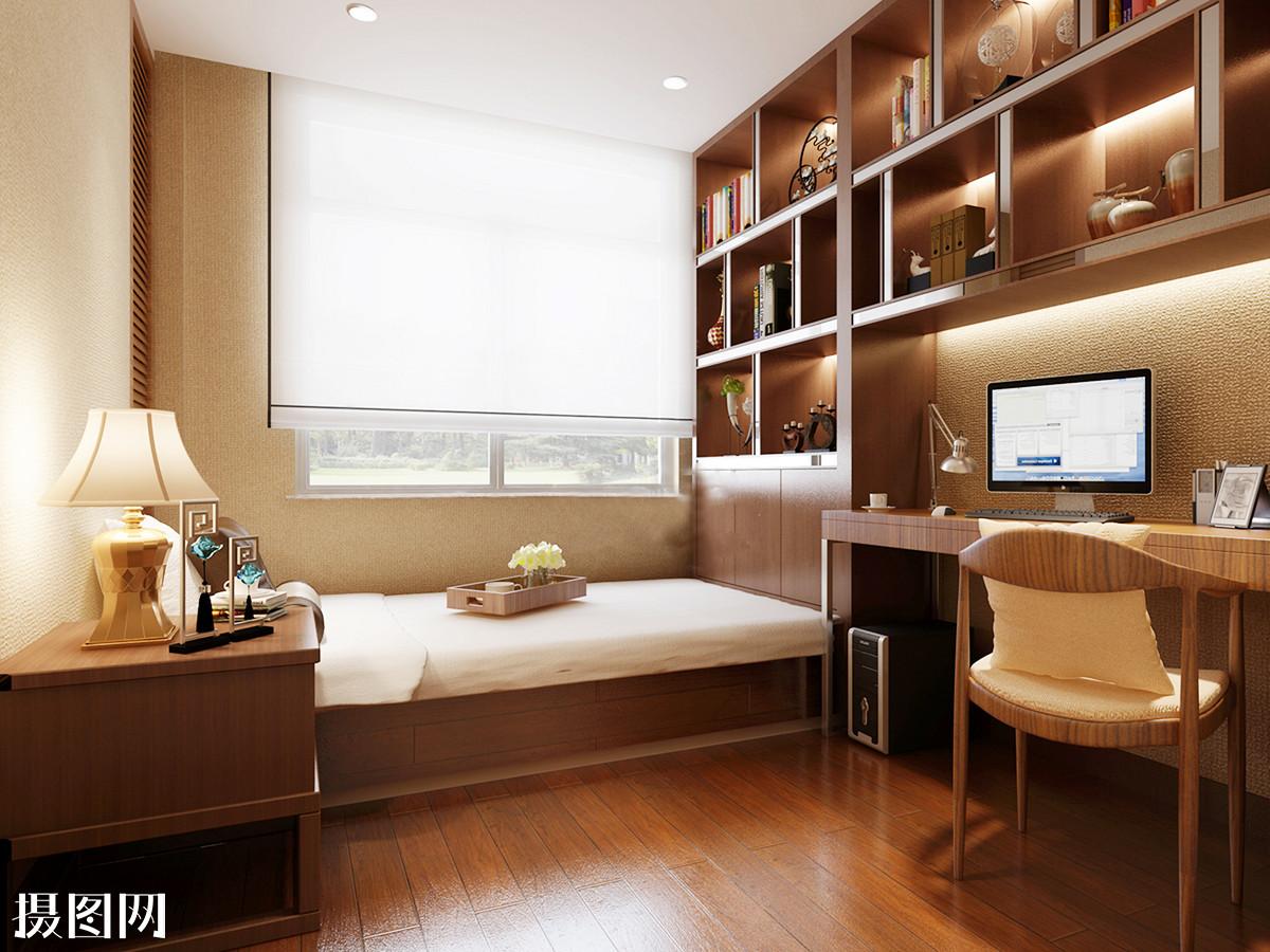 书房效果图,新中式,中式,书房,中式书房,书桌,榻榻米,床品,书架,地板图片