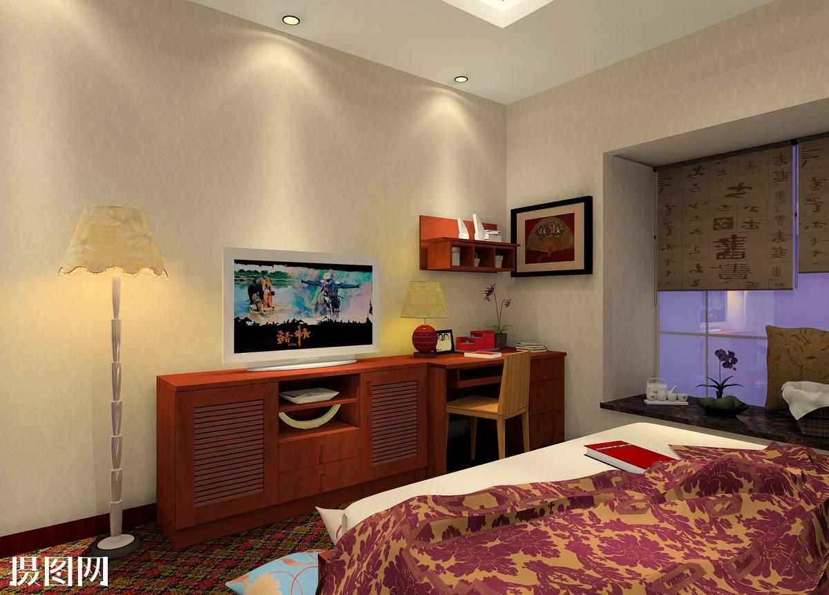 主卧室效果图,新中式,家装,效果图,室内效果图,3d效果图,新中式卧室