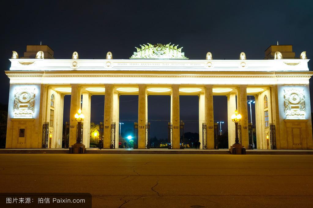 腺+��\y��9��y�n�fa_城市,中心的,公园,灯,fasade,莫斯科,城市的,光,夜,公园文化,krimskiy