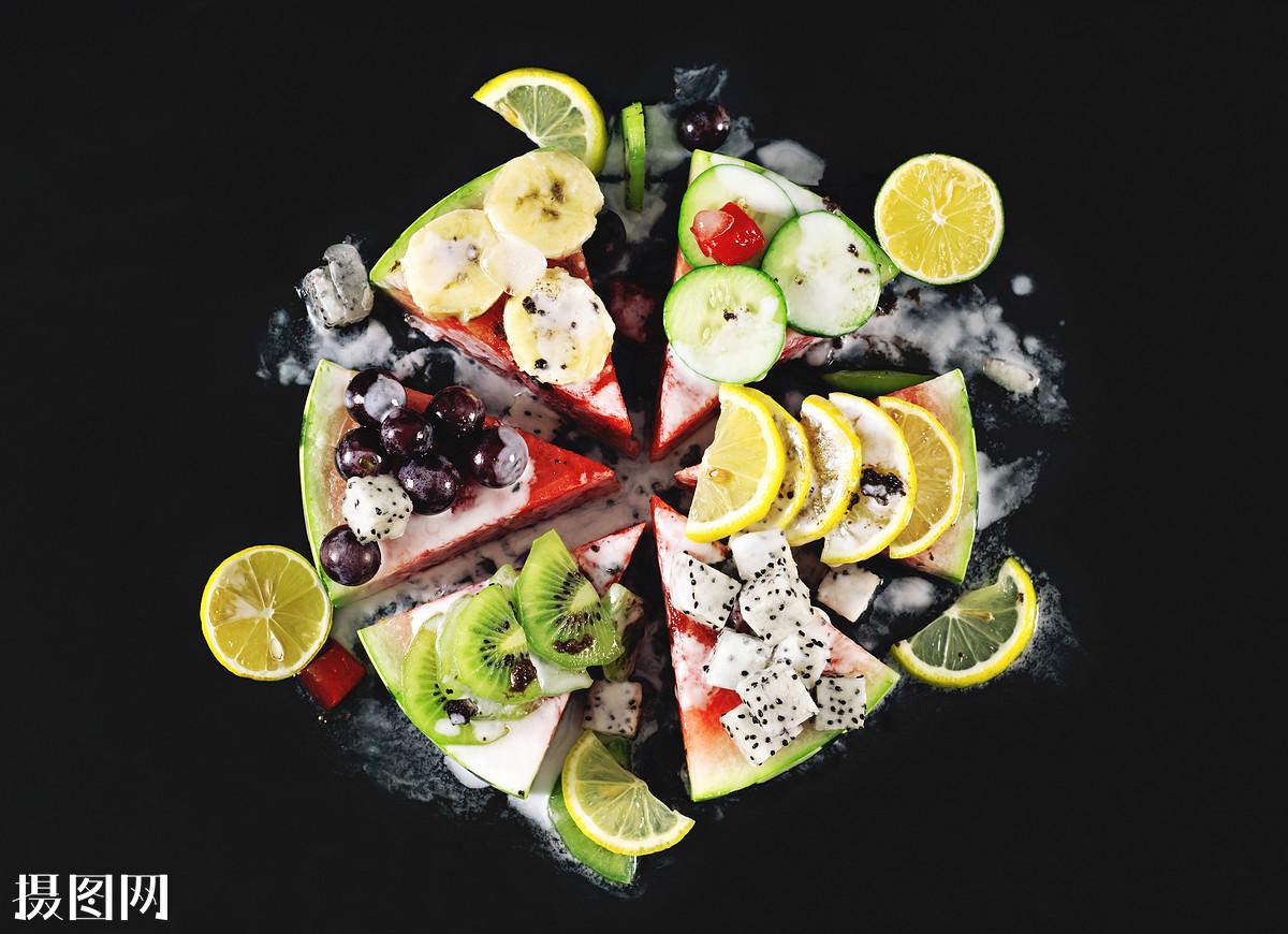 健康,新鲜,多汁,沙拉,水果沙拉,水果拼盘,西瓜,猕猴桃,柠檬,葡萄,火龙图片