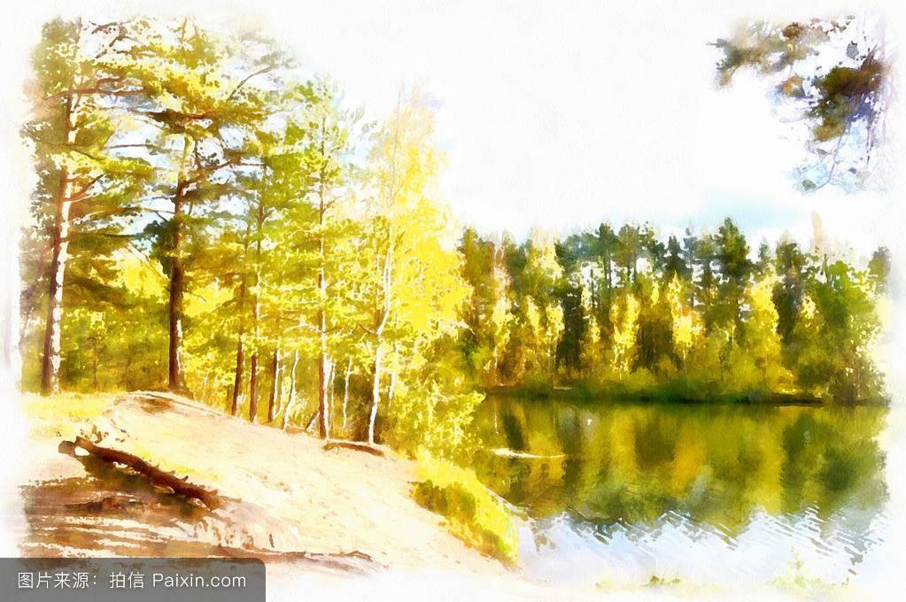 水彩画森林湖景观图片图片
