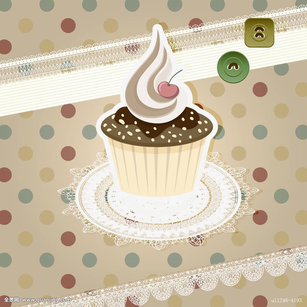 矢量,旧式,图案,杯形蛋糕,复古,背景图片