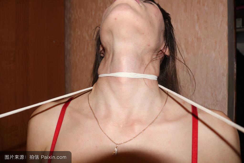 吻,窒息,美丽的,女孩,面对,静脉,喉咙,手,扼杀,女的脖子,女人图片