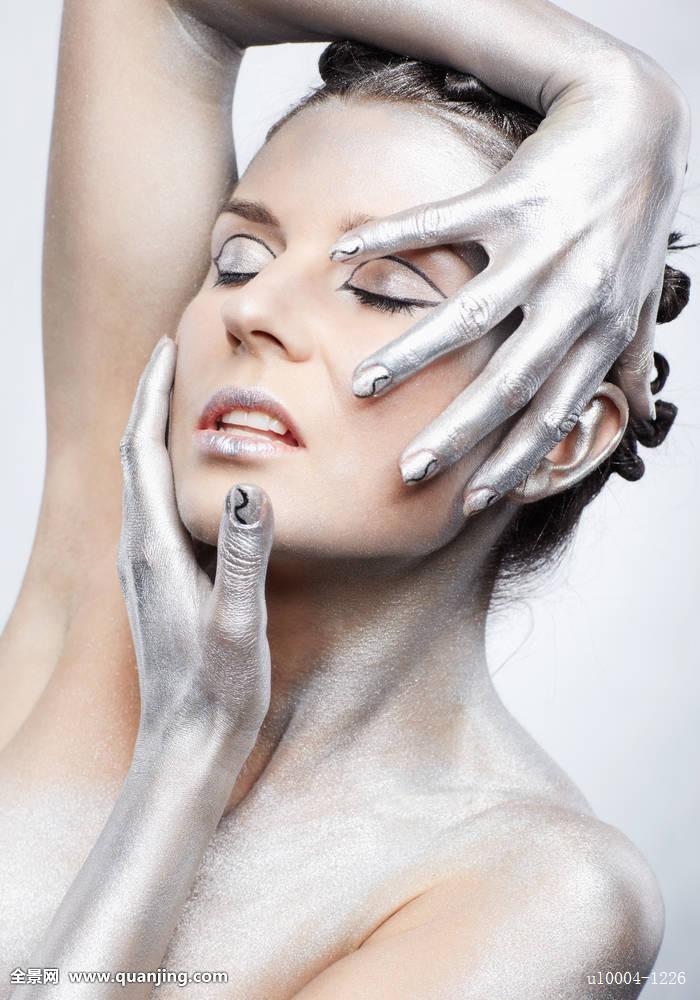 女人欧洲情色年轻模型漂亮白色人体艺术灰色手臂裸体