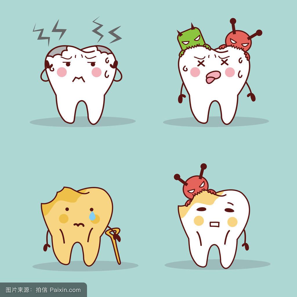 卡通,口,影响,嘴唇,龋,摩尔,表情符号,口腔医学,宏,疾病,倍数,病人图片
