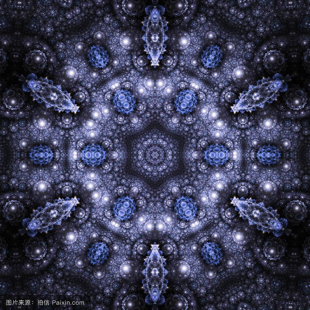 深蓝色无缝分形曼荼罗,创意图形设计数字艺术作品图片