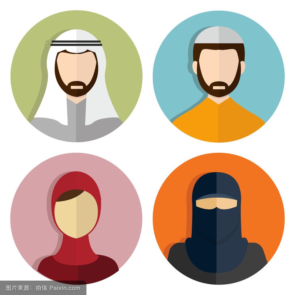 标志,面纱,信仰,宗教,面对,围巾,头巾,头,矢量,沙特,图解的,人口,图图片