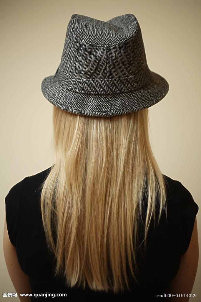 女青年,女士,白人,背影,女性,风格,一个,帽子,年轻人,年轻,成年,长发图片