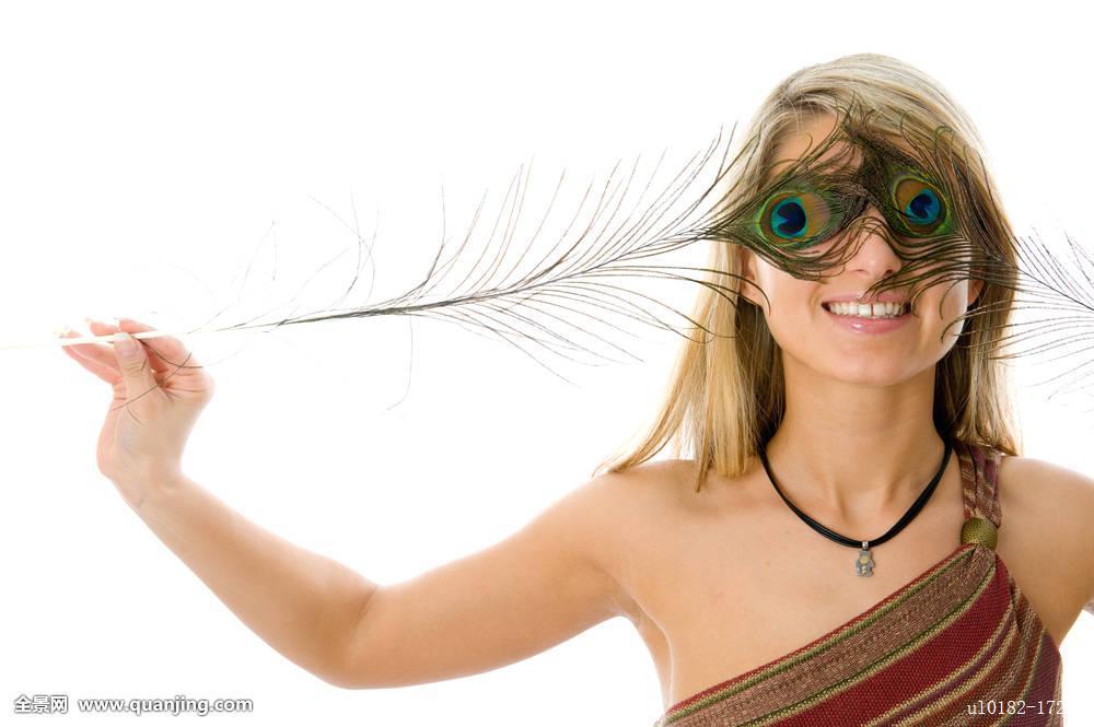 梦幻,脸,时尚,羽毛,女性,女孩,迷人,绿色,头发,发型,嘴唇,化妆,孔雀图片