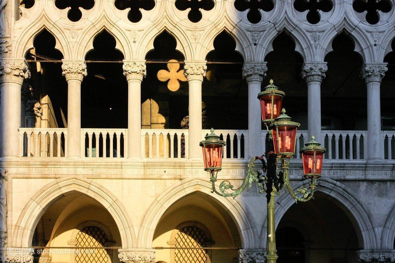 街灯,宫殿,灯,建筑,岛屿,亮光,拱门,栋梁,世界遗产,细节,柱子,亚得里图片