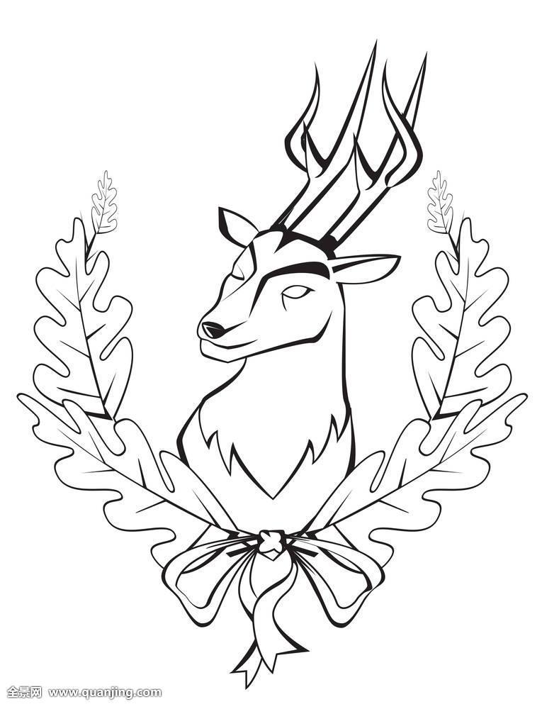 好看的鹿纹身手稿图片