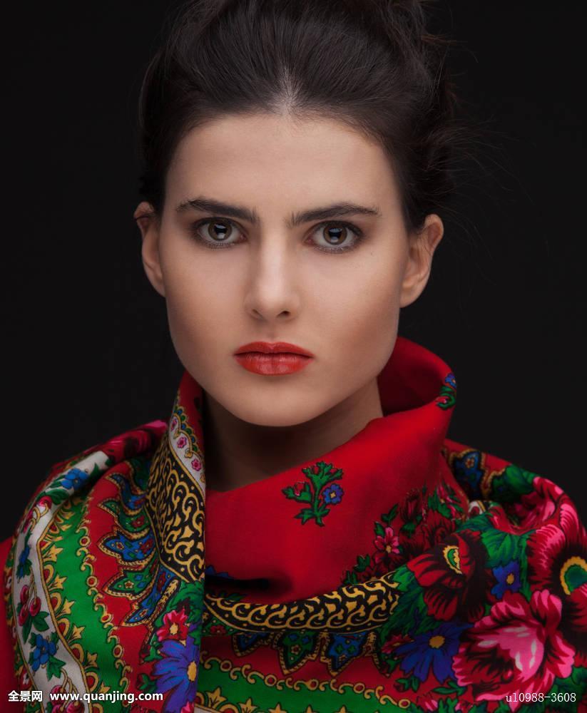 年轻,俄罗斯人,黑发,女人,棚拍,肖像图片