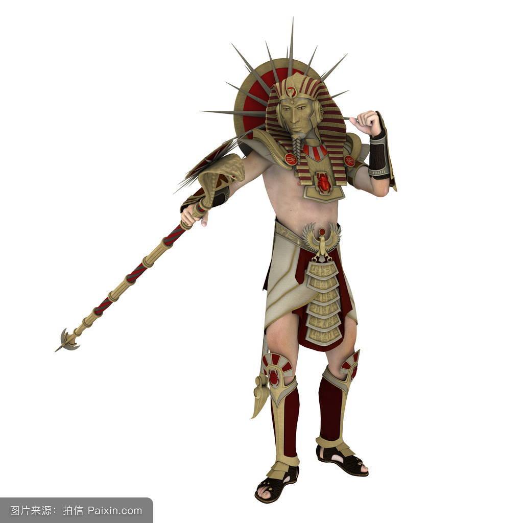 老白色背景面具埃及古代的服装-法老图片