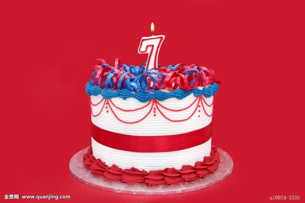 蛋糕,庆贺,生日,蜡烛,周年纪念,红色,蓝色,白色,隔绝,浇料,装饰,带图片