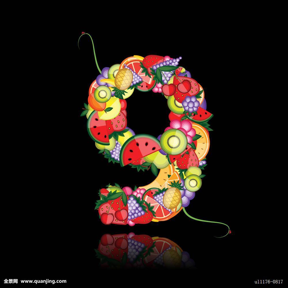 数字,水果,看,画廊