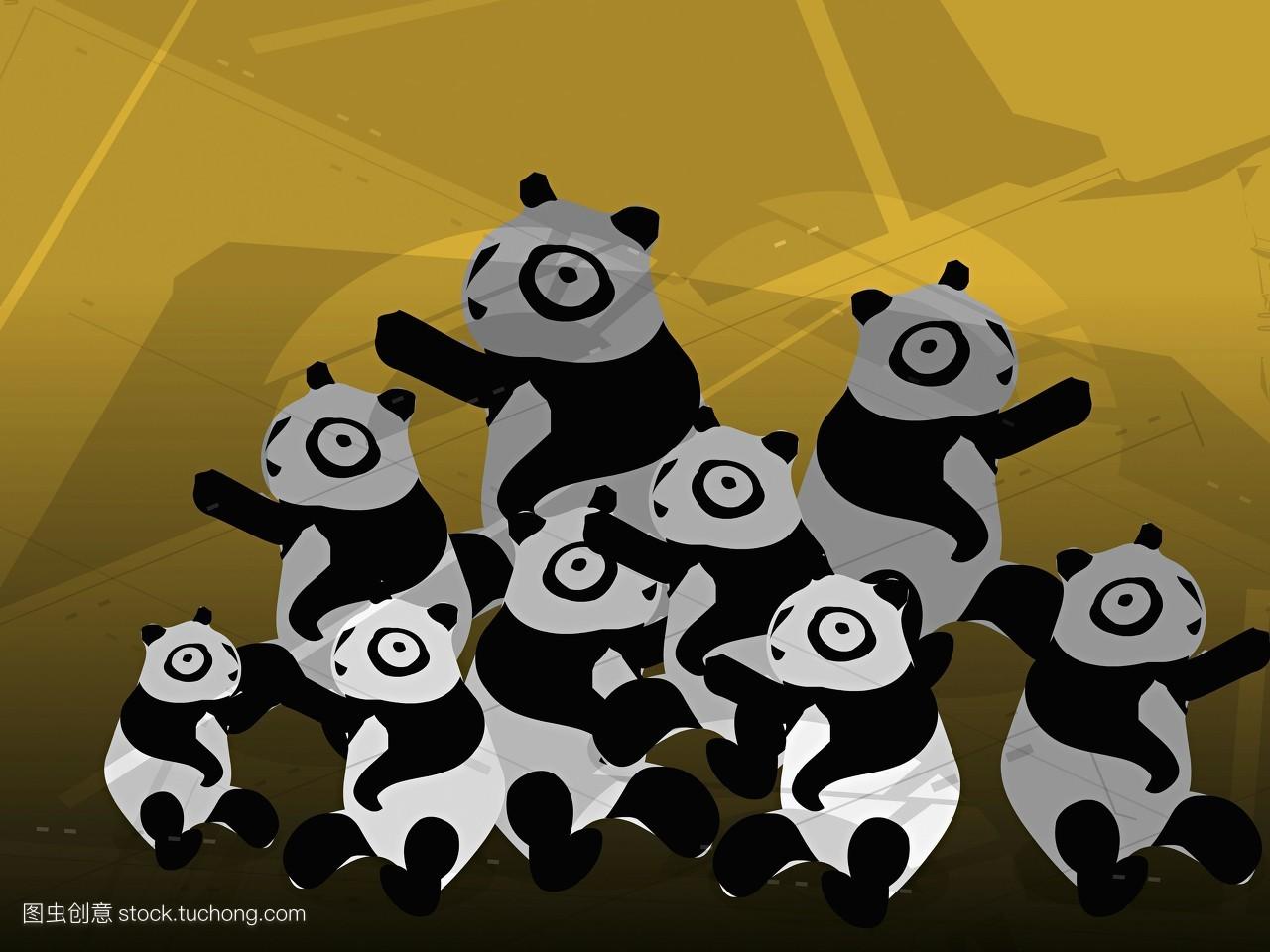 熊猫,相伴,横构图,高角度,彩色图片,电脑图形,一群动物,积极表情,幼小图片