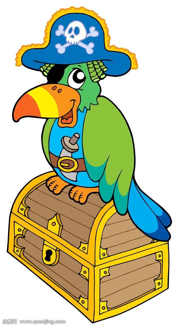 海盗和鹦鹉_海盗,鹦鹉,坐,宝箱