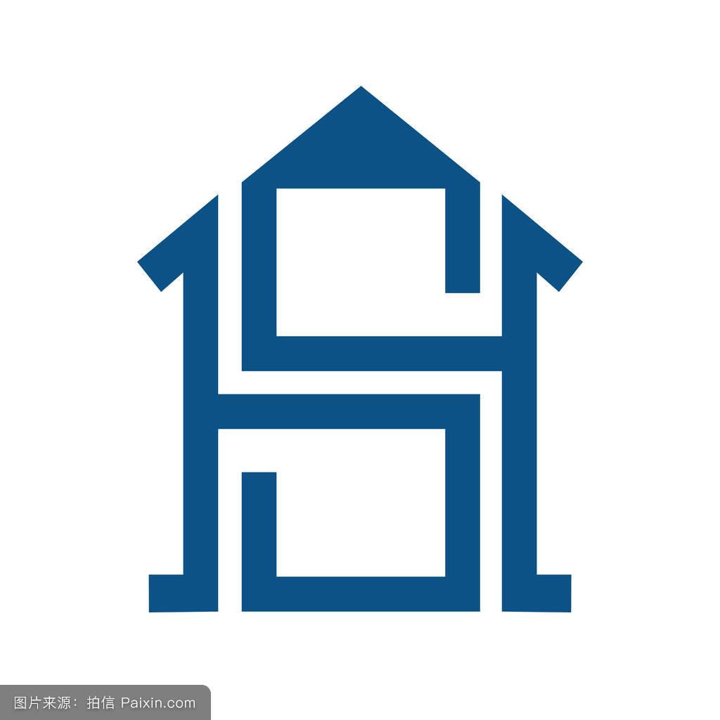 智能家居与sh字母概念标志.图片
