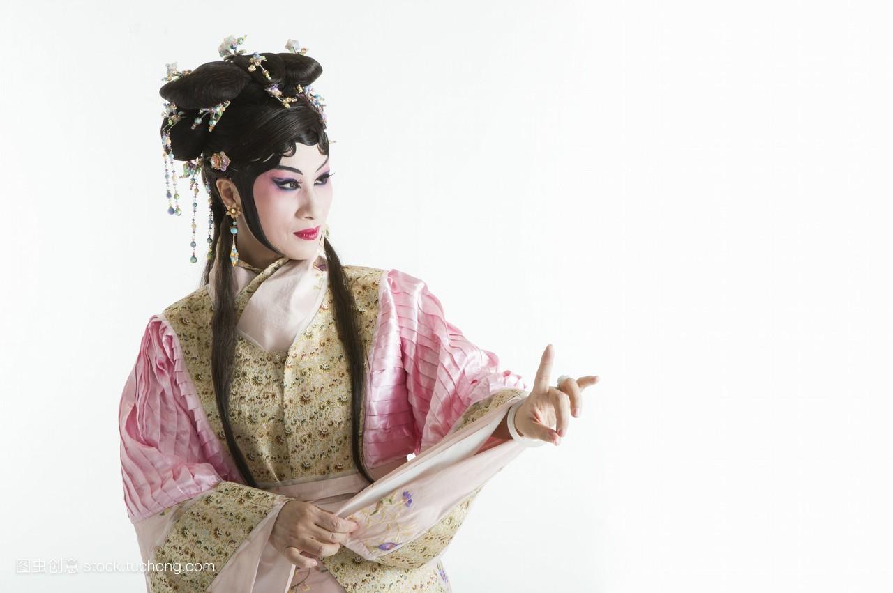 一个人,中国,亚洲,只有成人,假发,戏服,头饰,数字,脸谱,古装,舞台妆图片