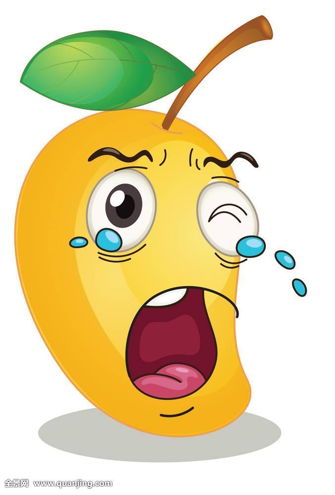 有趣,滑稽,插画,绘画,白色,背景,隔绝,芒果,黄色,甜,水果,食物,吃图片图片