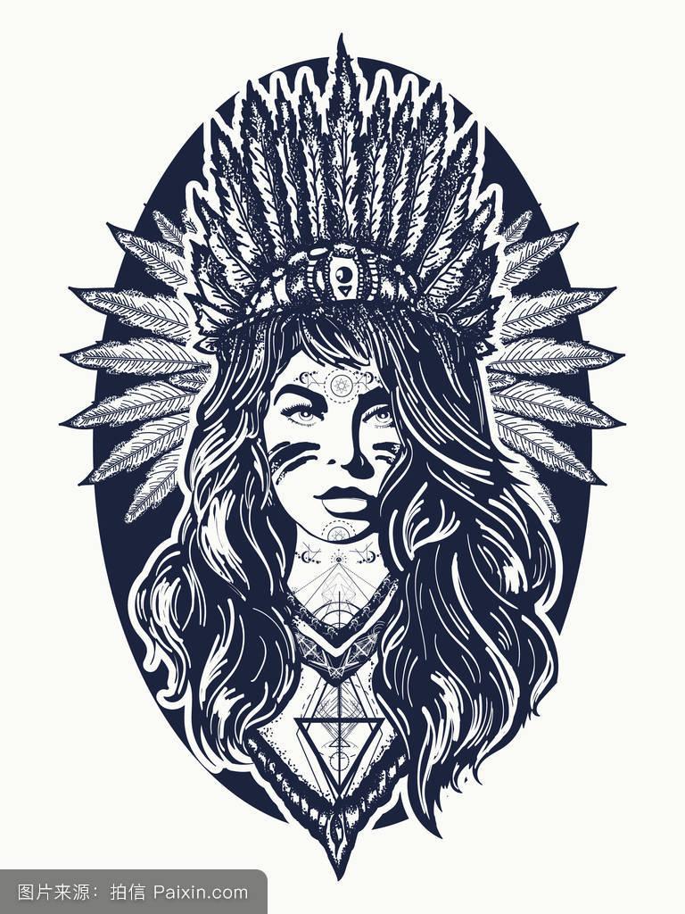 赶时髦的人,萨满教,美洲印第安人,印度女孩,狂野的西部,纹身设计图片图片