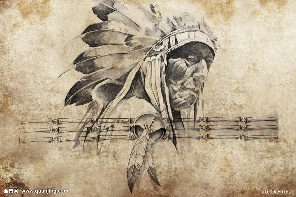 纹身,素描,美国印第安人,部族,首领,勇士图片图片图片
