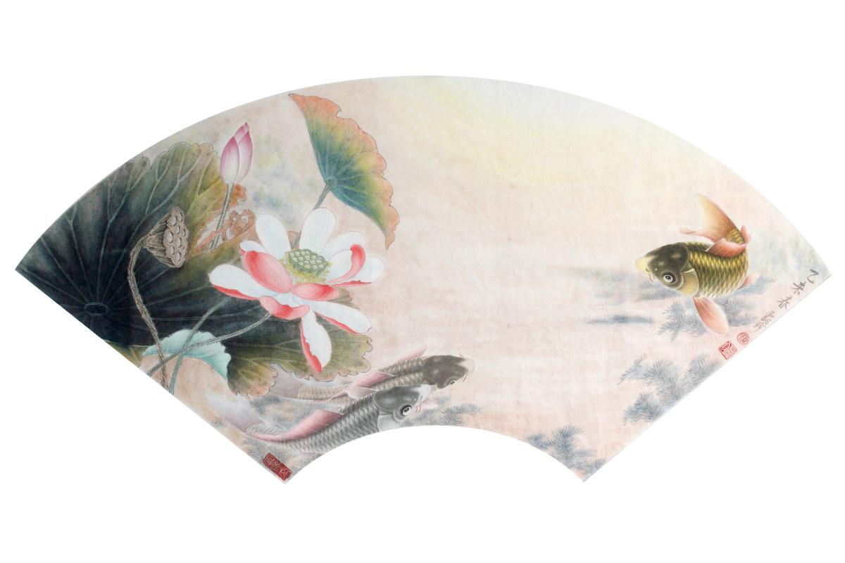 荷花国画写意扇形分享展示