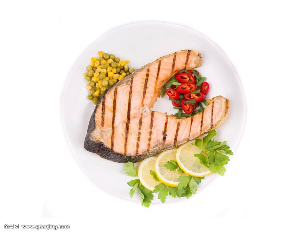 食品�zl�9��9�+_烤制食品,三文鱼肉片,蔬菜