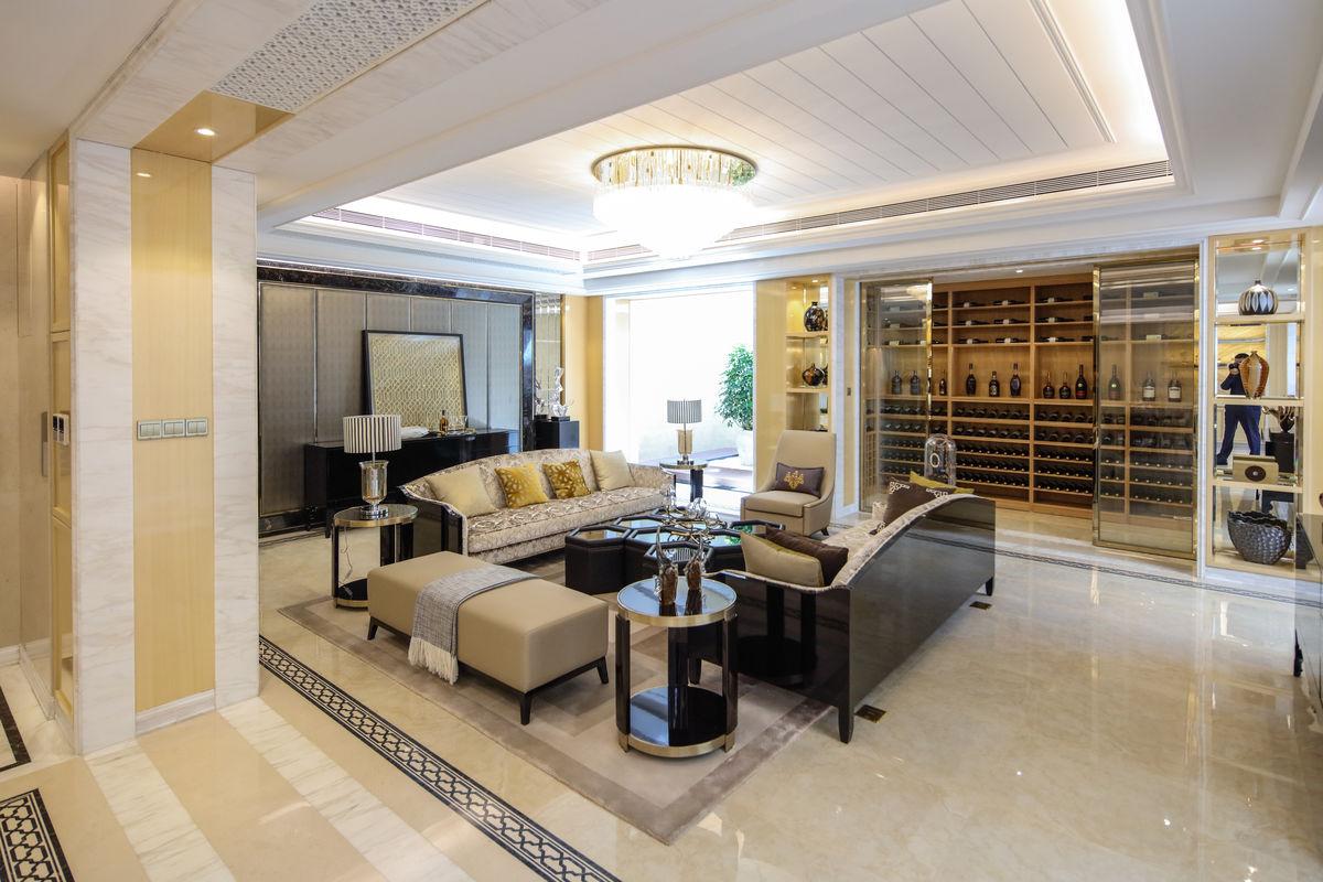 客厅装饰,整体家装,新中式家具定制,整木家居,软包墙面,样板间效果图图片