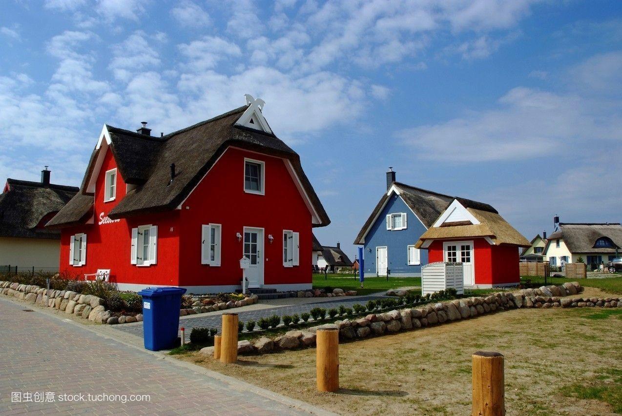 彩色,梅克伦堡,波罗的海,红色,新的,蓝色,茅草屋顶,德国,多彩,房屋图片