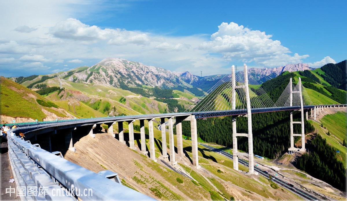 云,照相,自然,白天,拍摄方式,树木,夏季,自然风景,木桥,美丽,新疆图片