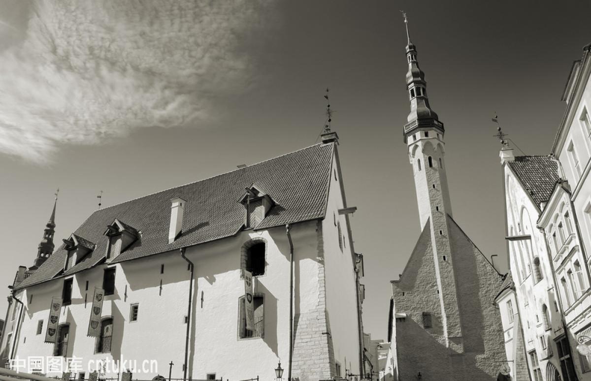 拜访,波罗的海三国,城市,城镇,瓷砖,单色图像,风标,复古,哥特式风格图片