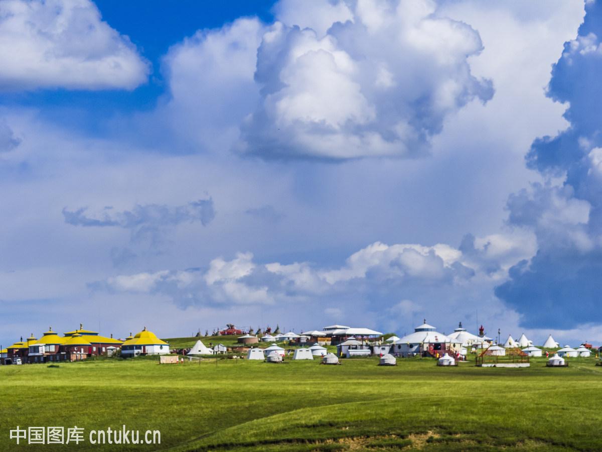 夏季,自然风景,美丽,壮观,风景,草原蒙古包群,呼和浩特,和林格尔县,草图片