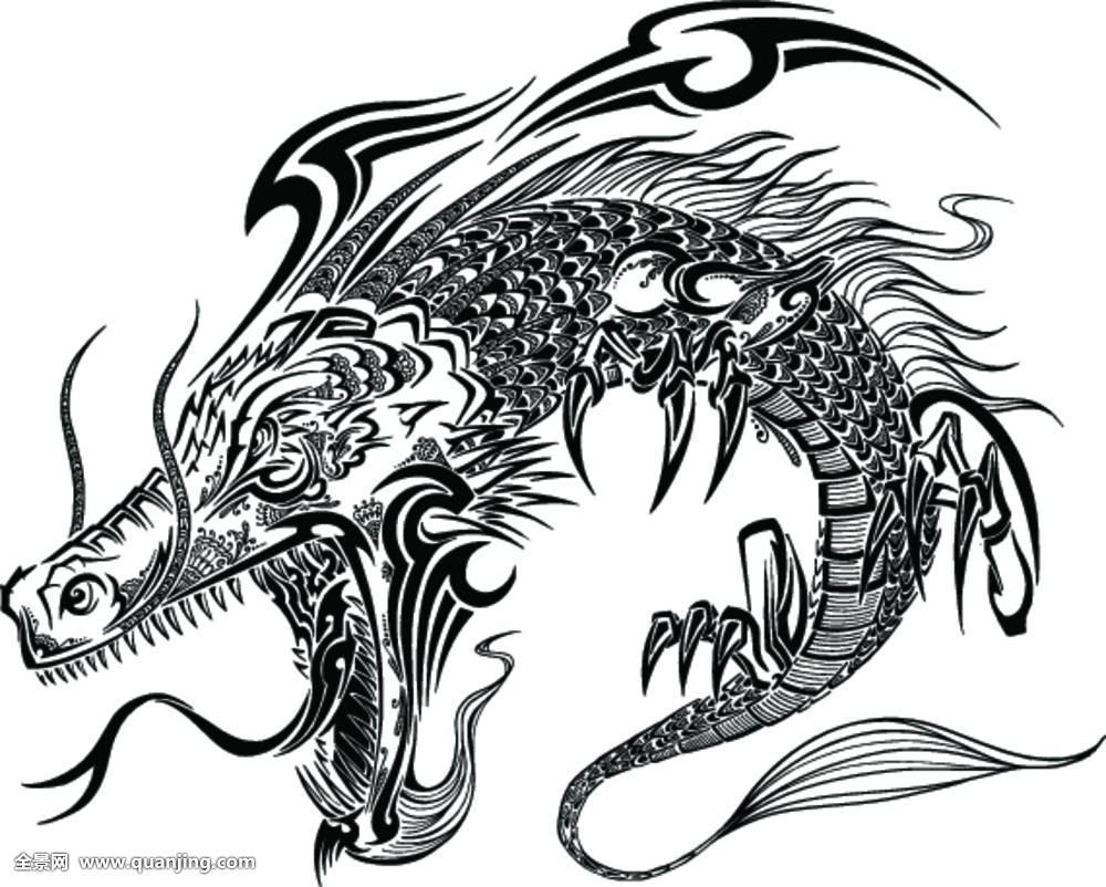 龙,涂写,素描,纹身,矢量图片