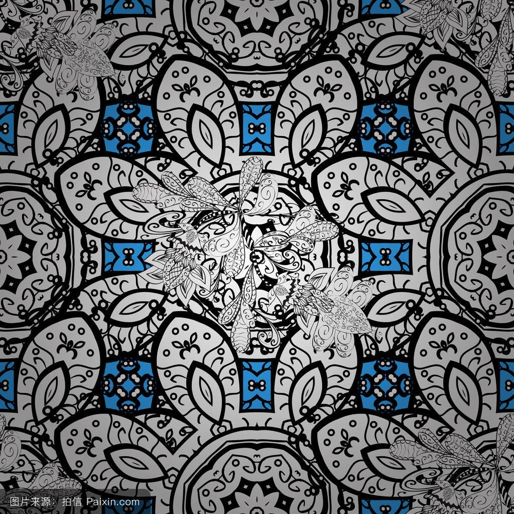 精致的,蓝色,模式,欧洲的,卷曲的,纺织品,剪贴簿,纹理,织物,叶,丝绸图片