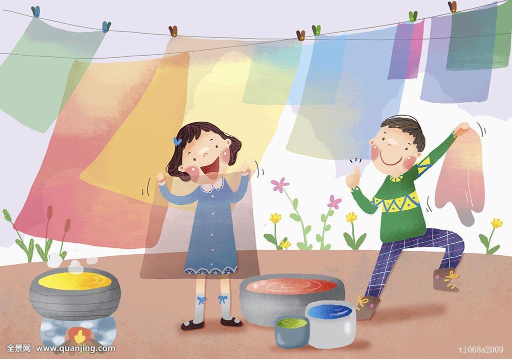 插画,儿童,弄干,洗衣服图片