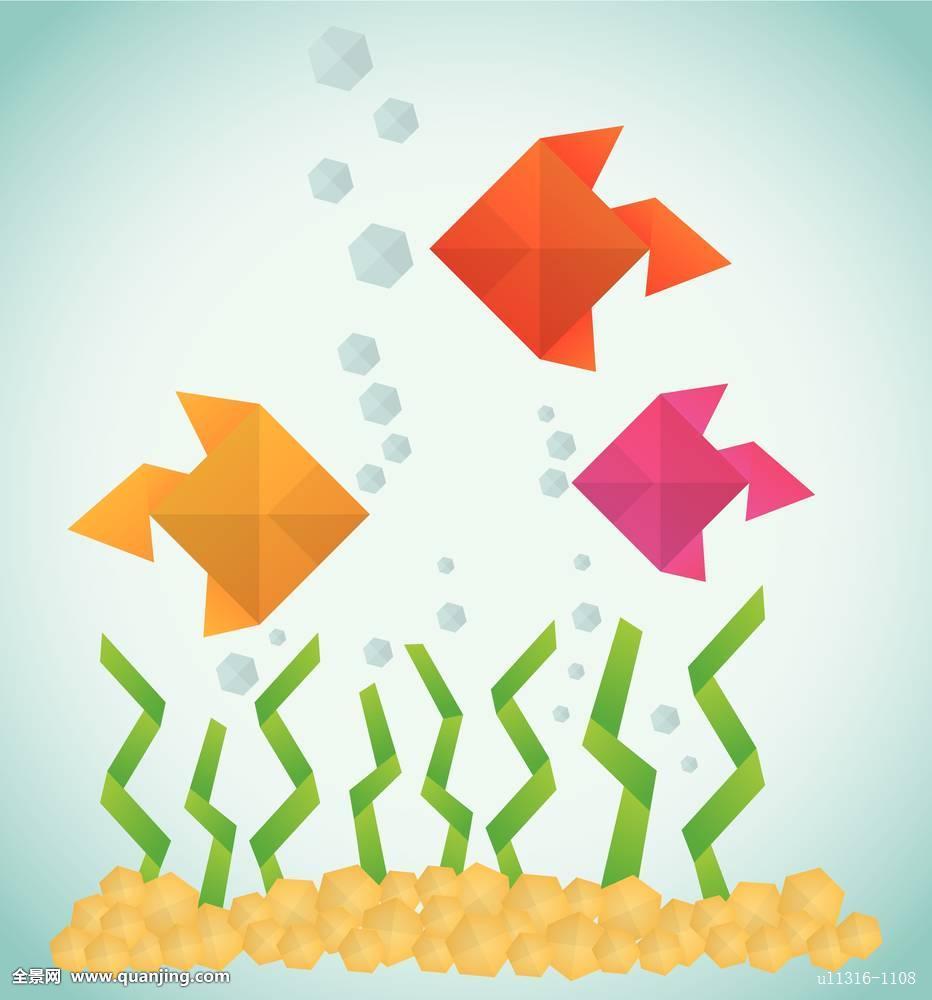 折纸,纸,艺术,鱼,碗,海洋,水,概念,现代,抽象,几何,创意,矢量,插画图片